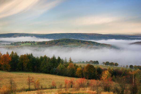 Panoramablick vom Schwartenberg im Herbst