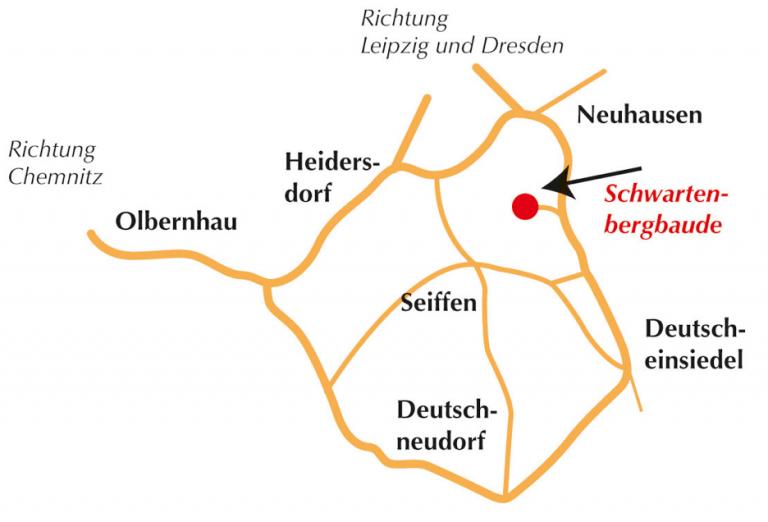 Anfahrt zum Schwartenberg zwischen Neuhausen und Seiffen
