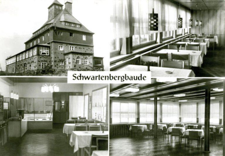 Historische Ansichtskarte vom Berggasthaus Schwartenbergbaude im Erzgebirge mit Innen- und Außenaufnahmen
